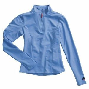 Hot-Chillys-Women-039-s-Micro-Elite-Brushed-Zip-T-Neck-Sky-Blue-SM-MD-LG-New