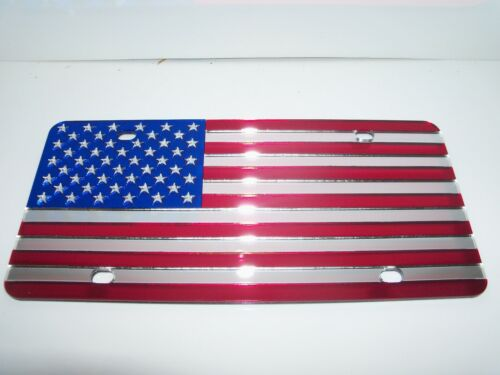 Red//Silver//Blue Brand NEW!! American Flag License Plate Color/'s