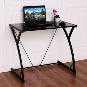 28483b424e4ab Costway Glass Top Computer Desk PC Laptop Table Writing Study ...