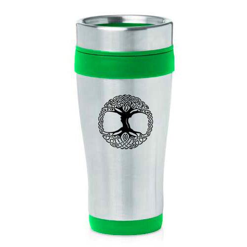Stainless Steel Insulated 16oz Travel Mug Coffee Cup Celtic Tree Of Life Irish