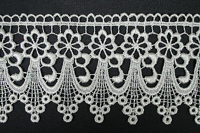 """5/8""""~5-1/8"""" Wide Ivory Off White Embroidered Venice Lace Guipure Trim by Yardage"""