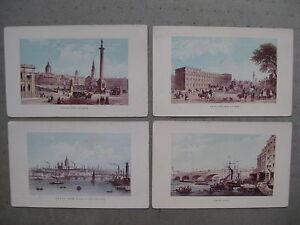 4-gravures-LONDRES-TRAFALGAR-SQUARE-Blackfriars-Bridge-Treasury-Buildings