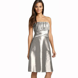 Strapless-Pleated-Knee-Length-Formal-Taffeta-Cocktail-Party-Dress-Silver