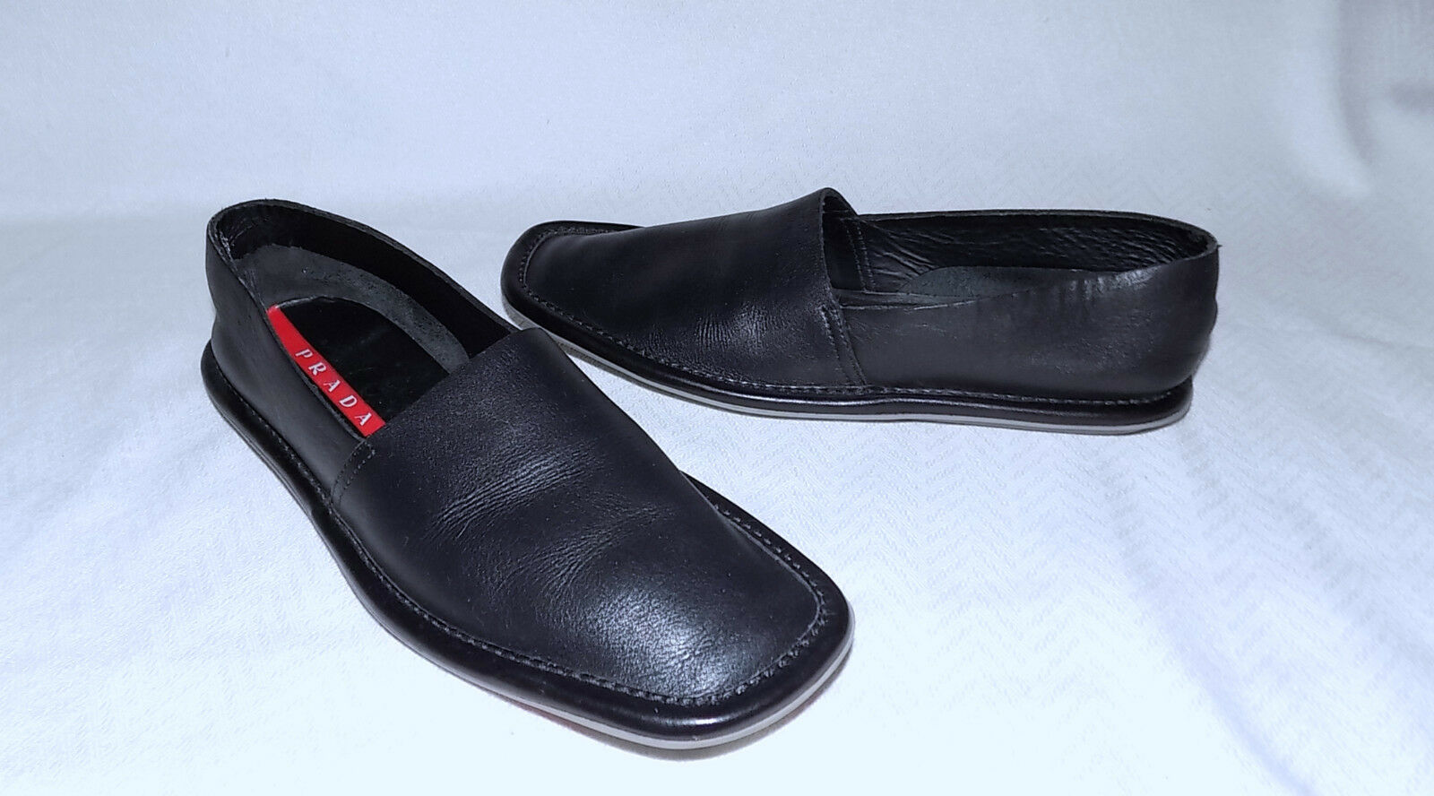 PRADA Genuine Leather Modern Flats Flats Flats Loafers-Size 35 5M-Black-Very Nice condition 5cebae