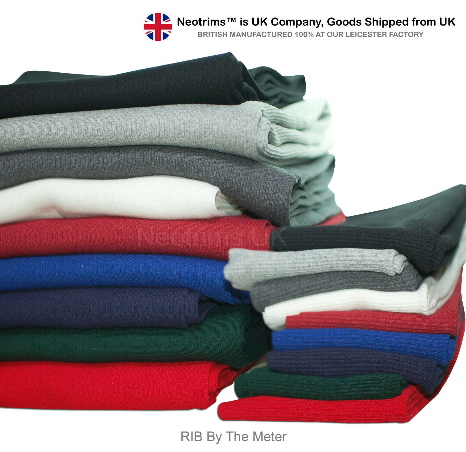 Chunky Resilient Durable Knit Rib Fabric Neotrims Stretch Lycra Ribbed Fabric
