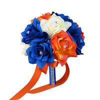 8 Wedding Bouquet - Ivory, Royal Blue, Orange Artificial Rose Bouquet