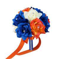 8 Wedding Bouquet - Ivory, Royal Blue, Orange Artificial Rose Bouquet