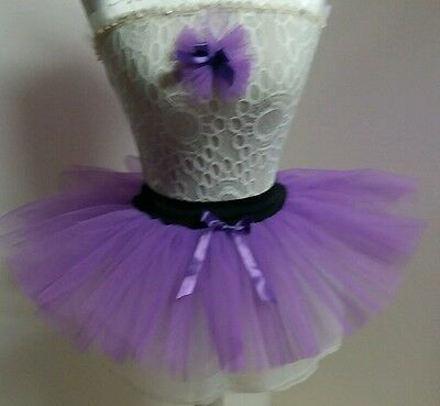 NeW purple TUTU SKIRT DANCE FANCY DRESS PARTY CHILD  Free headdress all colours