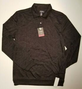Van-Heusen-Men-039-s-Classic-Fit-Long-Sleeve-Black-Heathered-Flex-Polo-NWT-MSRP-54