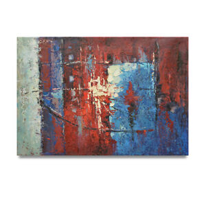 NY-Art-Thick-Red-White-amp-Blue-Abstract-24x36-Original-Oil-Painting-on-Canvas