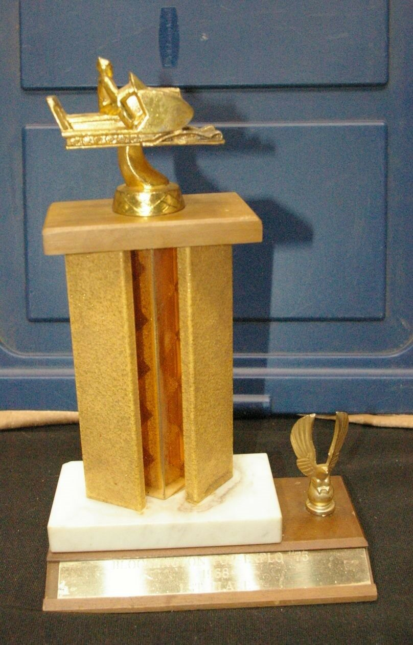 1968 Bloomington Minnesota Pop Explo 75 Snowmobile trophy Figural Sled on top