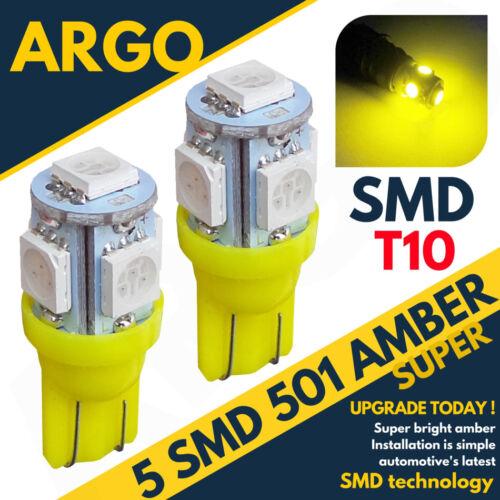 2X SUPER HID 501 5 SMD LED SIDE INDICATOR AMBER BULBS XENON T10 W5W