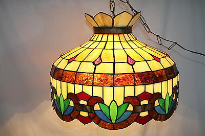 Antique Brilliant Stained Glass Chandelier Fixture, Great Condition circa1930's