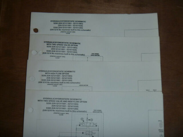 Bobcat S250 S300 Skid Steer Hydraulic Schematic Diagram Manual Sn 521311001