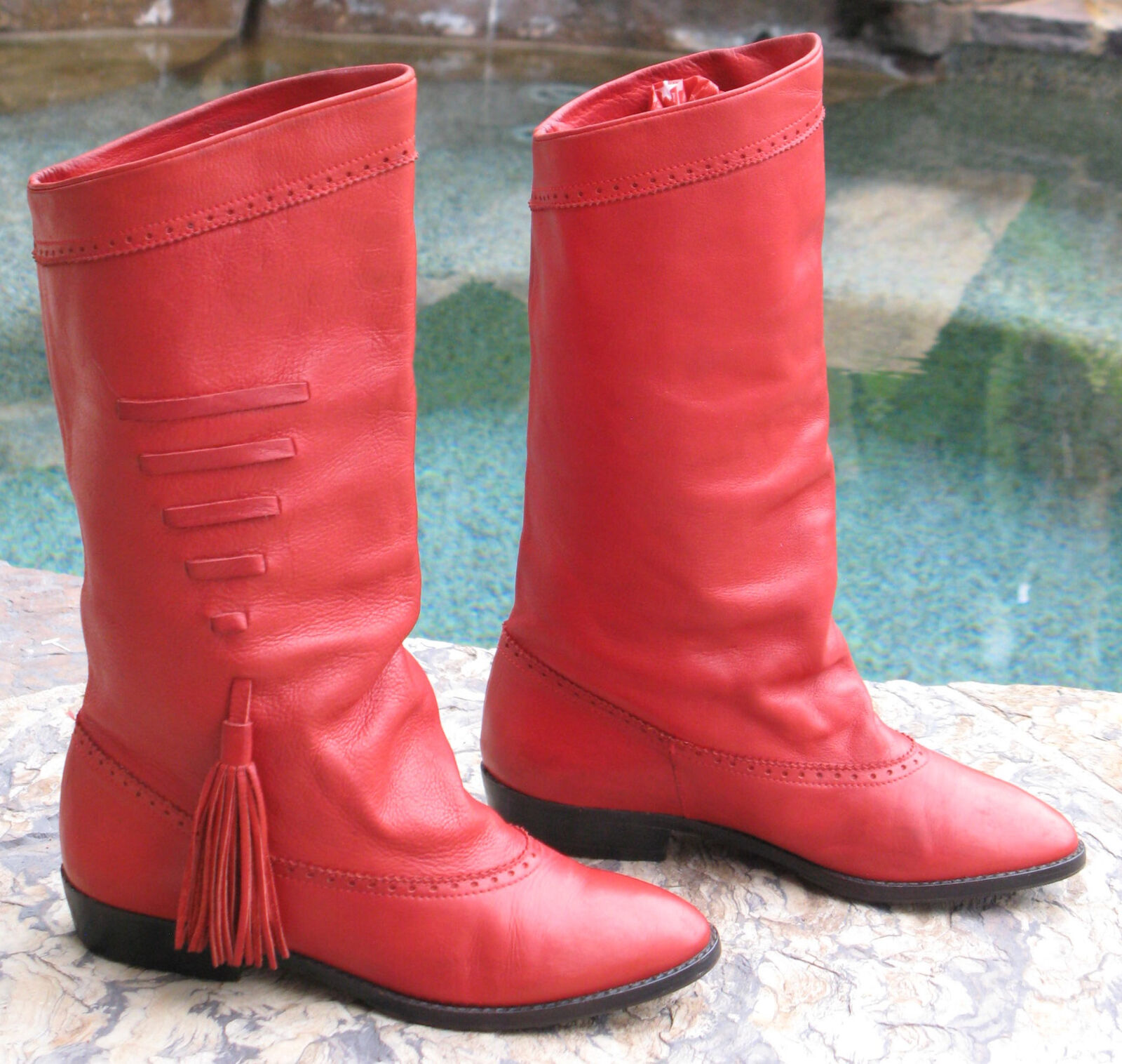 Neiman Marcus Italian Slouchy Red Leather Riding Riding Riding Boots USA Sz 6 EUR 37 23d2c7