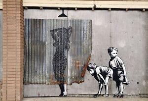 Banksy-Framed-Canvas-Street-graffiti-Urban-Art-Print-shower-boys-stencil