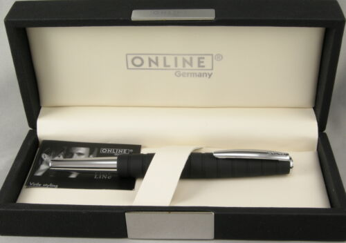 New In Box Online Germany Business Line Black Rubberized /& Chrome Fountain Pen
