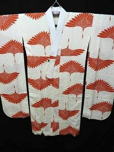Cream-Silk-Japanese-RINZU-NAGA-JUBAN-for-FURISODE-w-Cranes-B569