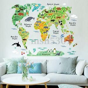 Removable diy animal world map wall decal art sticker kids nursery image is loading removable diy animal world map wall decal art gumiabroncs Image collections