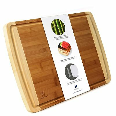 2 Extra Large Organic Bamboo Wood Cutting Board with Deep 0.5mm Juice Groove