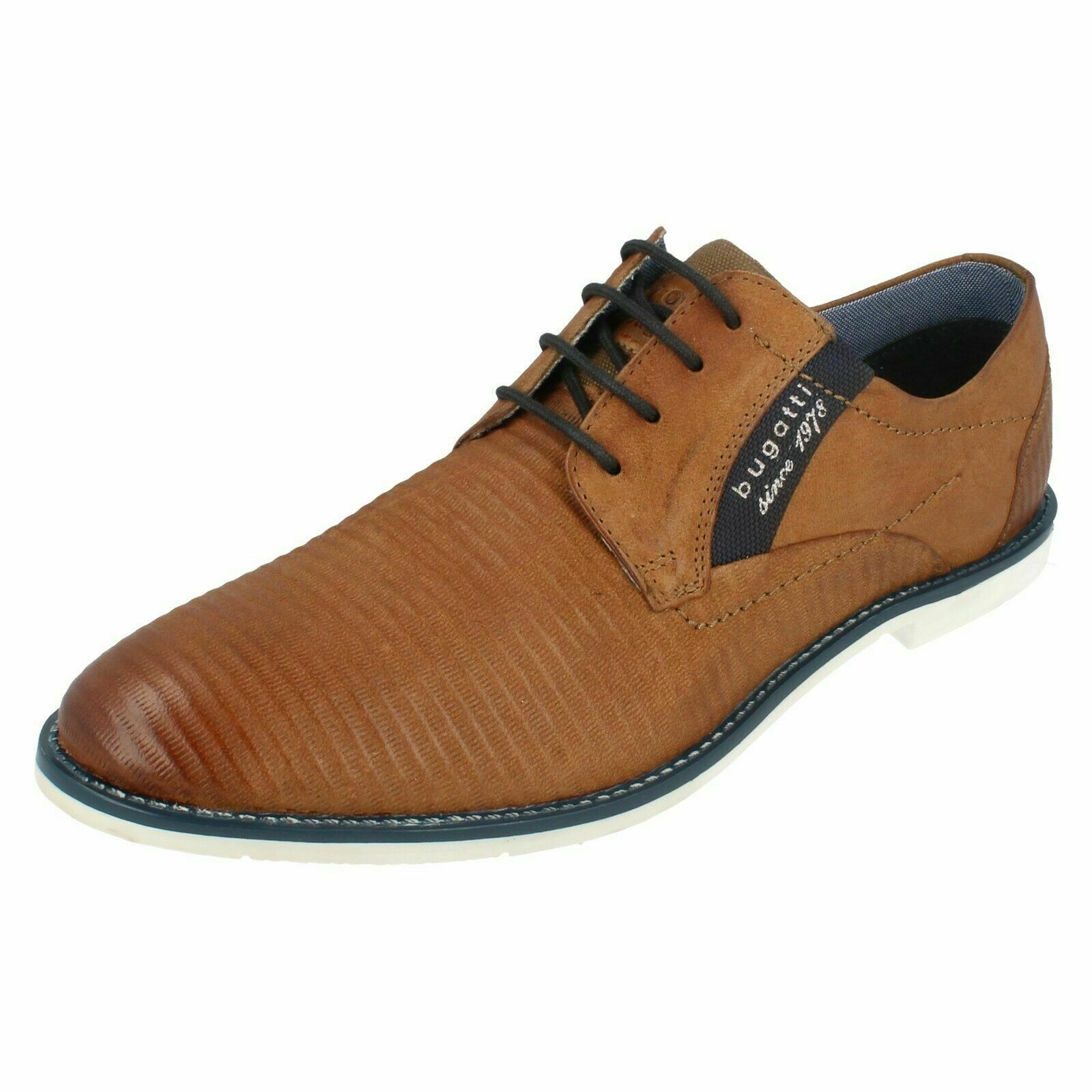 313-11117-3500- Mens Bugatti Cognac & 039; Used Look & 039; Leather Lace Up schuhe