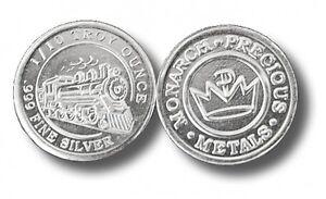 100 - 1/10 oz. 999 Fine Silver Rounds -  Steam Train Design - BU- Monarch- Sale