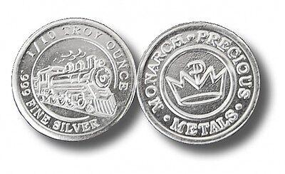 200 - 1/10 oz. 999 Fine Silver Rounds -  Steam Train Design - BU - Monarch