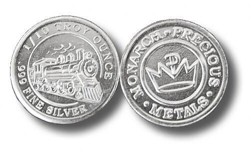 999 Fine Silver Rounds 100-1//10 oz Steam Train Design BU- Monarch- Sale