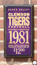 Clemson Tigers Football - Antique Vintage Style Sign Plaque Wall Art Home Decor