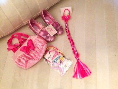 Super Süßes pink Glitzer Schuhe, Haarschmuck Mädchen Set 3-4 Jahre Neu