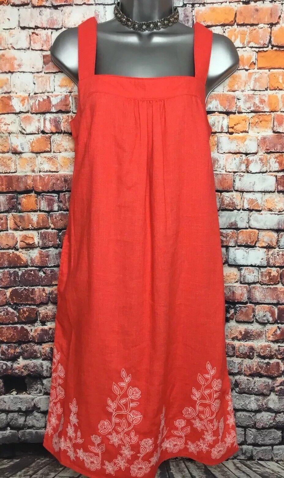 NEW NEXT 12 Coral Embroidered Hem Linen Sleeveless Short Sun Dress