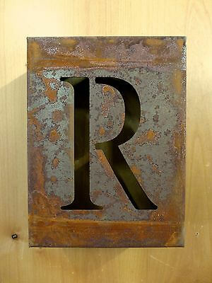 "8/"" RUSTY RUSTED INDUSTRIAL METAL BLOCK CUT SIGN LETTER J vintage marquee wall"