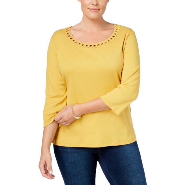 0bfafe0e9 Karen Scott 1157 Plus Size 1x Womens Yellow Solid Knit Top Pull Over ...