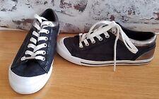 Coach Women's Francesca Signature Logo Fashion Sneakers sz 6 Black Pewter Shoes