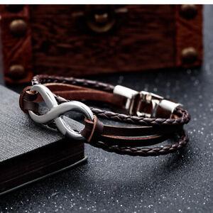 Leather-Metal-Men-amp-Girl-Infinity-Friendship-Love-Braided-Bracelet-Wristband-UK