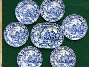 Antique-Transferware-Staffordshire-Pottery-Platter-and-Plates-1840
