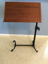Antique Adjustable Drafting Table Laptop Desk Teak & Iron Architect SIDWAY