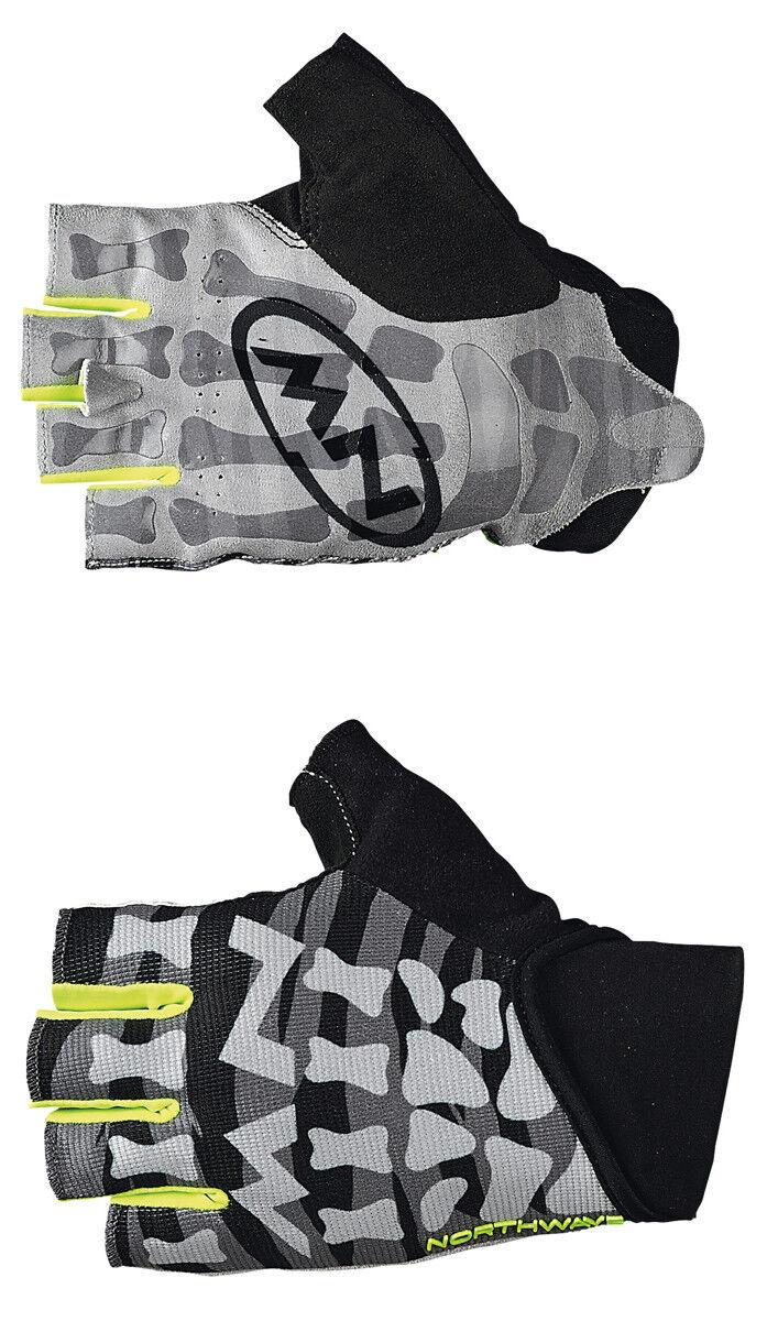 Northwave Skeleton Fahrrad Handschuhe kurz black grey yellow 2019