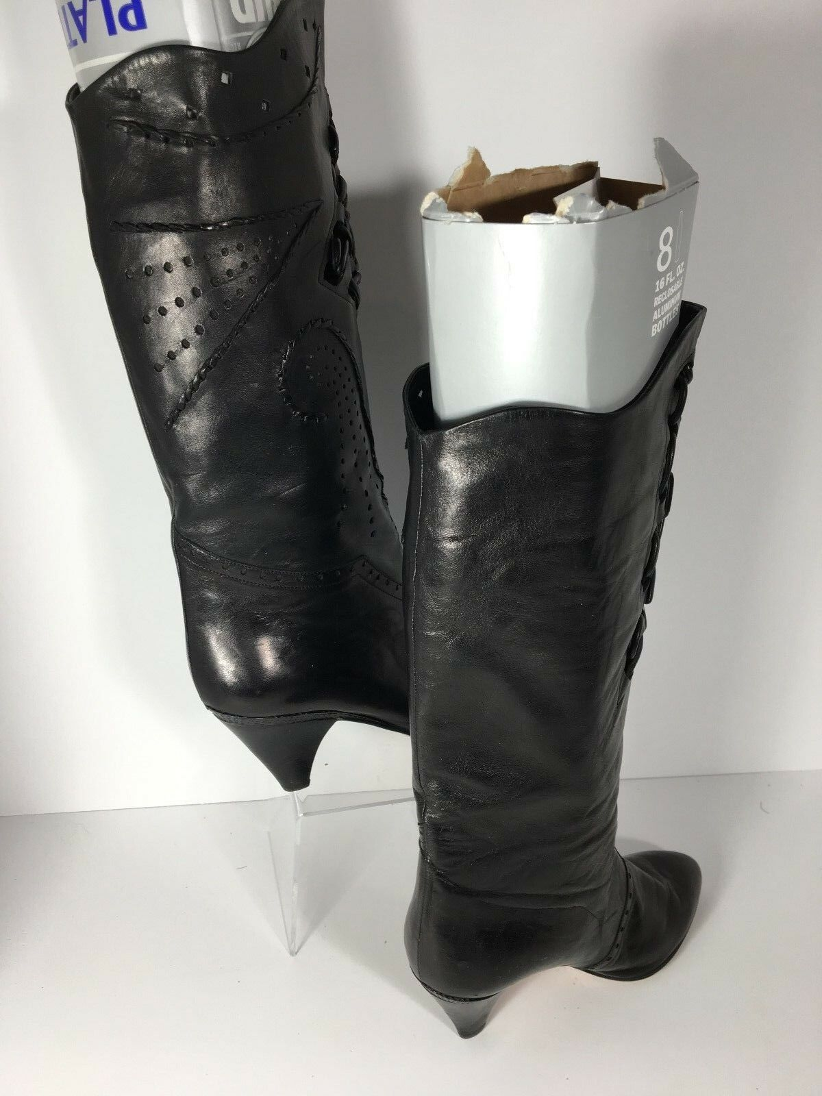 Vero Cuoio Made Italy Black Soft Detailed Leather Knee High Boot Stiletto Size 6