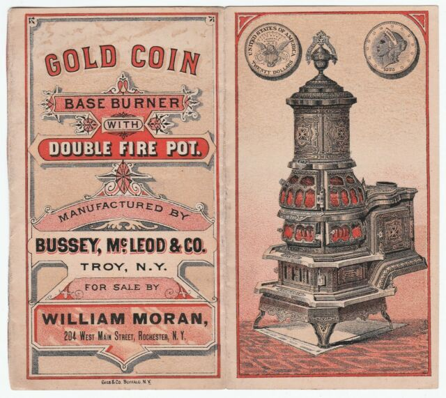 RARE Catalogue brochure Gold Coin Poêle c 1880 Bussey McLeod Troy New York Trade Card