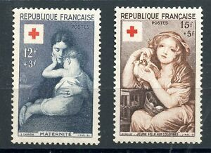 STAMP-TIMBRE-DE-FRANCE-NEUF-N-1006-1007-CROIX-ROUGE-1954-COTE-30