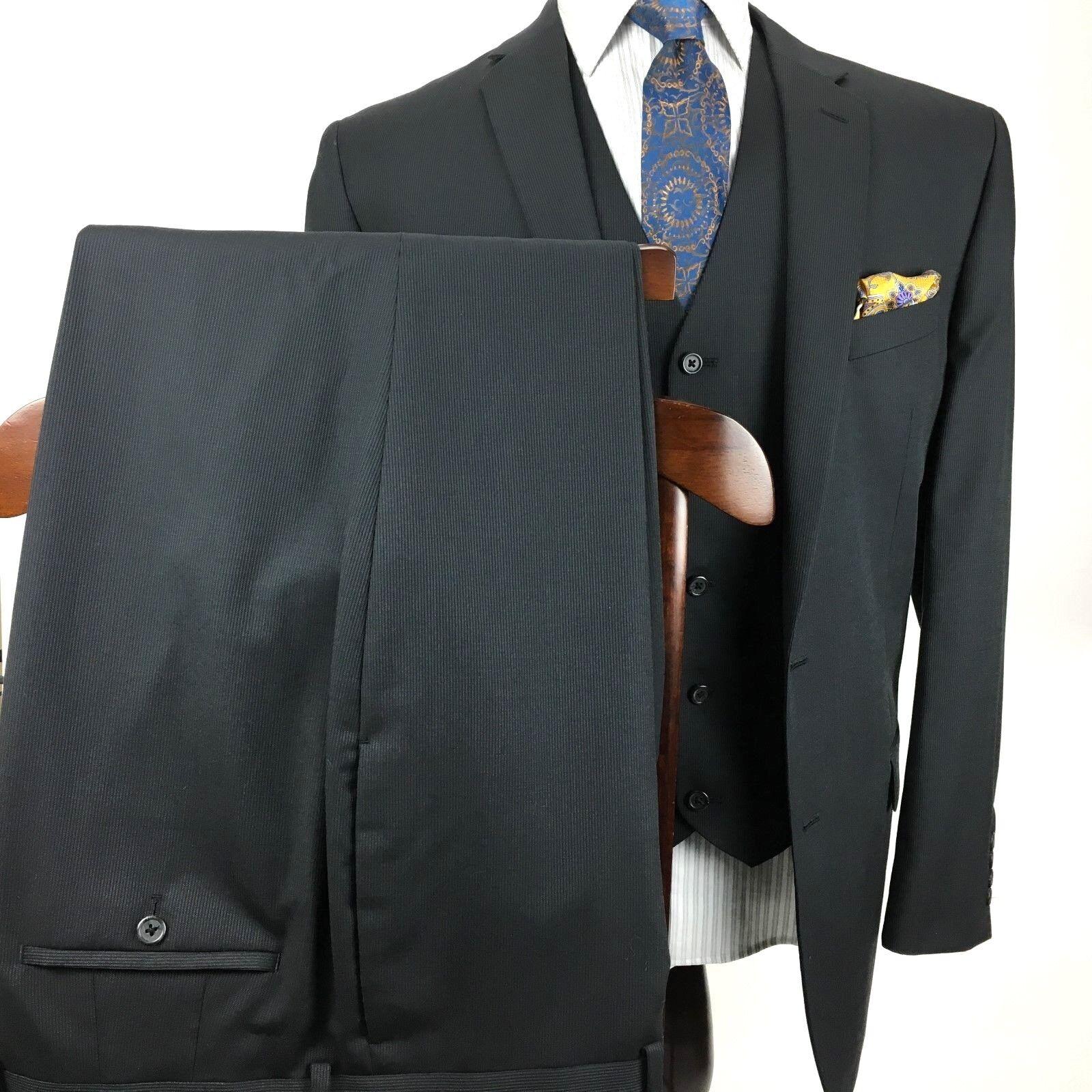 Egara  Herren 46L Slim Fit 3 Piece Suit 40 X 30 Charcoal 2 Btn Dual Vent Wool Blend
