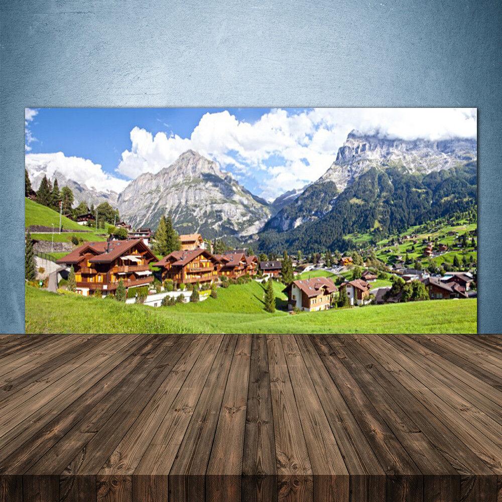 Crédence de cuisine en verre Panneau 140x70 Paysage Maisons Montagnes