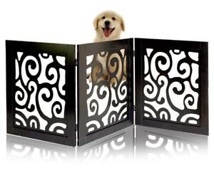 Safety-Pet-Gate-Dogs-Free-Standing-Foldable-Wooden-Fence-Barrier-Stairs-Doorway