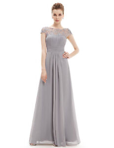 703c29bded Details about Fashion UK Long Lace Cap Sleeve Evening Gowns Grey Bridesmaid  Dresses Grace 2019