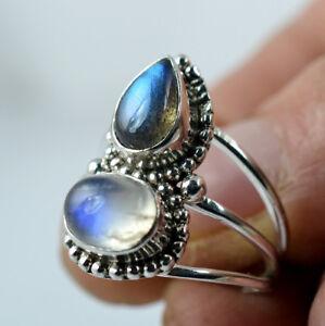 Rainbow-Moonstone-Labradorite-925-Solid-Sterling-Silver-Handmade-Ring