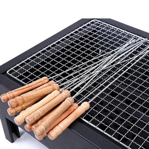 Portable Barbecue Spieß Maschine Gerät mit Holzgriff Rösten Grill Spieße