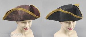 New-Mens-Ladies-Distressed-Look-Tricorn-Caribbean-Pirate-Fancy-Dress-Costume-Hat