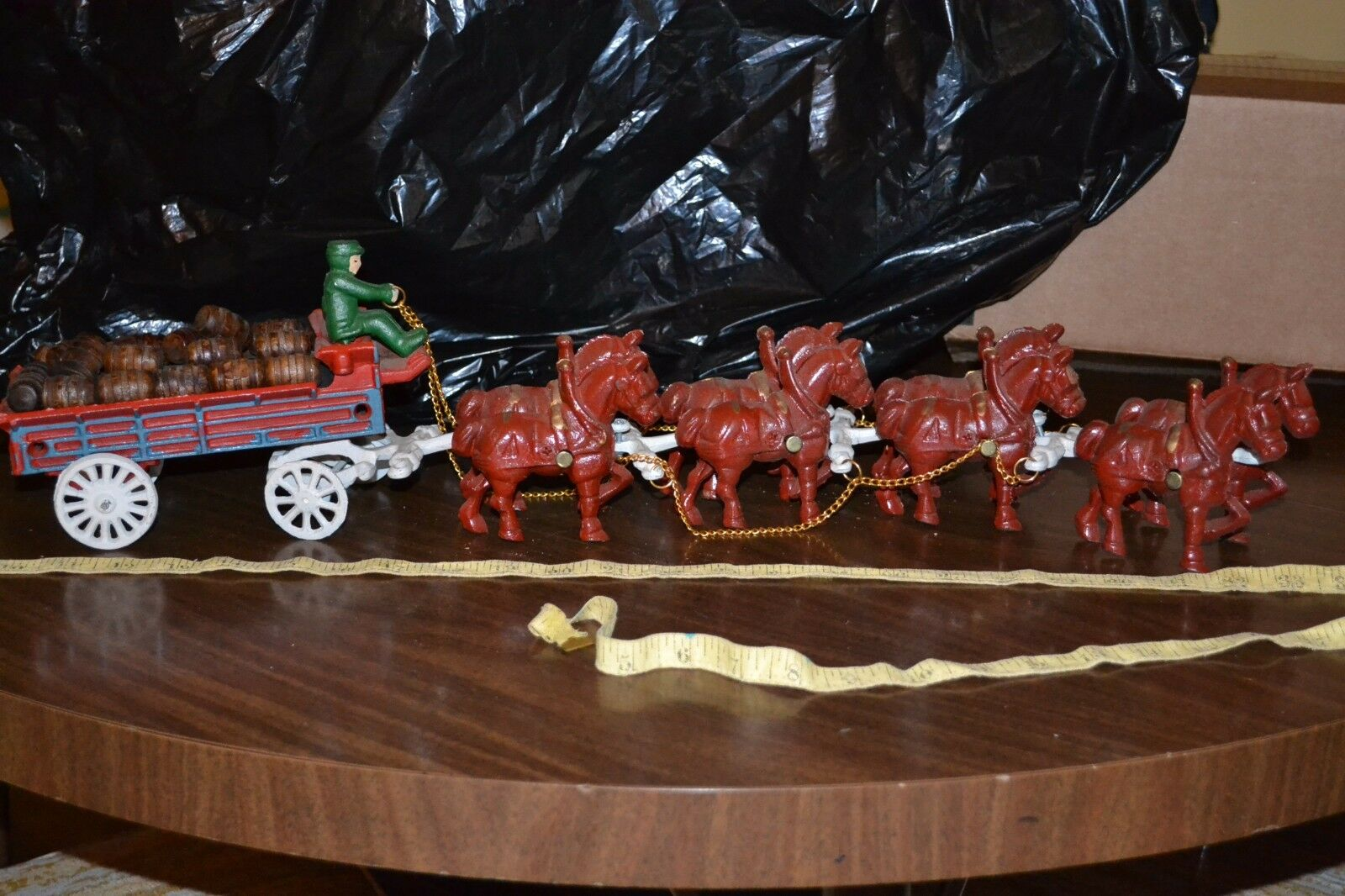 Old Cast Iron 8 Horse Drawn Wagon w Driver & 21 casks  piece approx 24  long