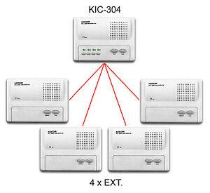 4 Way Wired Master To Slave Audio Intercom System Kit 2 4